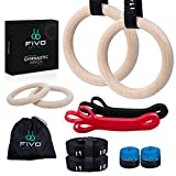 fivo Wooden Gymnastic Rings with Adjustable Straps- 14.76 Ft Gymnastics Rings for Home with Hand Tape, Mesh Bag, Gym Band