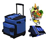 Saann.Z 38 (32+6) Soft Cooler with Wheels and Handle and Removable Liner, Collapsible Cooler on Wheels Suitable for Long Distance Shopping, No Need to Rush Home Any More (Navy)