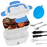 Electric Lunch Box 2 in 1 Portable Food Warmer Heater, 12V & 110V Bento Box for Car & Home with Silicone Sponge, Self Heating Lunch Containers with Compartments