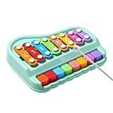 Dollox 2 in 1 Baby Piano Xylophone for Toddlers 1-3 Years Old, Keyboard Paino Toy Preschool Educational Musical Learning Instruments Toys with 8 Multicolor Key Scales for Boys Girls Babies 18 Months