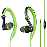 Mucro Sports Headphones Wired Earbuds with Microphone, Over Ear Hook Earphones Sweatproof in Ear Running Exercise Workout Gym Ear Buds for iPhone, iPod, Samsung
