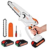 Mini Chain Saw TORRYZA 6-Inch Mini Chainsaw with 2 Battery Cordless Electric Chain Saw 2.7Lbs Lightweight Handheld Chainsaw Small Battery Chain Saw for Branch Cutting Garden Tree Trimming -White