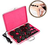 Hot Stones Massage Set, Basalt Hot Stones with Heater Kit, for Professional or Home spa, Relaxing, Healing, Pain Relief (20Pcs)