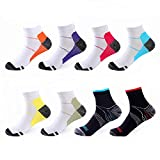 Compression Socks 8 Pairs, 15-20 mmhg Best Foot Athletic Medical for Men & Women, Gym Sport Arch Support Plantar Fasciitis Low Cut Running, Suitable for Flight, Travel, Nurses, Hiking, (L/XL)