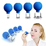 4 PCS Glass Facial Cupping Set | Silicone Vacuum Suction | Cupping Massage Therapy | A Kit For Anti Cellulite, Anti Wrinkle and Instantly Ageless Skin | For Eyes, Face and Body
