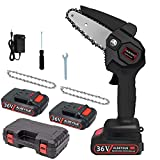 Electric Mini Chainsaw, [2 Battery] 4-Inch 36V Cordless Handheld Battery Powered Small Chain,Pruning Shears for Tree Branch Wood Cutting