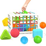 HOOLYUK Baby Shape Sorting Toy, Sensory Sorting Bin with Elastic Bands, Bands Colorful Shapes Sorter Sorting for Ages 10 Months and Up (12pcs)