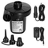 Electric Air Pump for Pool Inflatables Air Mattress Air Bed, 110V AC/12V DC Boat Pool Raft Inflatable Pump with 3 Nozzles Black (50W ACDC)