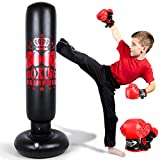 Inflatable Punching Bag for Kids and Adults, 60 inch Punching Boxing Bag with Gloves Punching Bag Freestanding Bounce Back Boxing Bag Fitness Punching Bag for Karate Taekwondo Kick