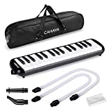 CAHAYA Melodica 32 Keys Double Tubes Mouthpiece Air Piano Keyboard Musical Instrument with Carrying Bag 32 Keys, Black