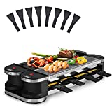 Artestia Electric Raclette Grill,1200W Portable 2 In 1 Korean Bbq Grill with Non-Stick Plate and Grill Stones, Rotatable Thermostatic for Each Grill Plate and 8 Paddles