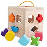 Wooden Shape Sorter Cube Toy with 12 Colorful Wood Geometric Shape Blocks and Carrying Strap Sorting Box Classic Developmental Learning Matching Gifts Classic Toys for Toddlers Baby Kids Age 3+