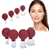 4 Pieces Facial Cupping Set - Vacuum Suction Cups, Silicone Cupping Therapy Set, Works for Fine Lines and Wrinkles, Anti-Aging, Muscle Relaxation, for Eyes Face and Body