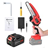 Mini Chainsaw Cordless 6-inch Handheld Upgrade Small Battery Powered Pruning Saw Electric Portable Hand Saw 21V Rechargeable Battery Operated Chainsaw for Women Men Wood Working Tree Branch Trimming