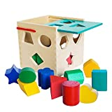 Premium Wooden Shape Sorter Toy with Sliding Lid & Carrying Strap 12 Color Solid Wood Geometric Shape Puzzle Pieces - Classic Developmental Toy for Preschool Toddlers 1 2 & 3 Year Olds