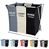 135L Laundry Cloth Hamper Sorter Basket Bag Bin Foldable 3 Sections with Aluminum Frame 24'' × 14'' x 23'' Washing Storage Dirty Clothes Bag for Bathroom Bedroom Home (White+Grey+Black)