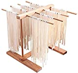 HAOKUNG Pasta Drying Rack Foldable Noodle Stand, Natural Beech Wood Hanging Holder with 8 Bar Handles Spaghetti Dryer Rack for Kitchen Household Storage Pasta, Spaghetti, Noodle