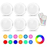 Cadrim Puck Lights, LED Color Changing Puck Lightings and Dimmable Under Cabinet Lights Battery Powered Under Counter Lights with 2 Wireless Remote Controls for Kitchen(6 Pack)