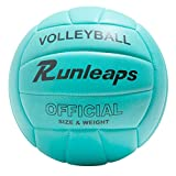Runleaps Volleyball, Waterproof Indoor Outdoor Volleyball for Beach Game Gym Training (Official Size 5, Blue)