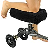 Vive Mobility Knee Walker Pad Cover - Plush Faux Sheepskin Memory Foam Cushion, Accessory for Knee Roller, Padded Accessories, Leg Cart Improves Comfort During Injury, Fits Most Knee Scooters (Black)