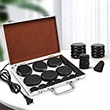 Hot Stones Massage Set, Electric Basalt Hot Stones with Heater Kit, for Professional or Home spa, Relaxing, Healing, Pain Relief (18 Pcs, Silver)