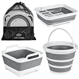 OUT.LIVING 3 Piece Collapsible Set | Camping Wash Station – 10L Foldable Bucket, 9L Collapsible Tub & Collapsible Dish Drying Rack | Portable and Durable | Multipurpose Camping & RV Essentials…