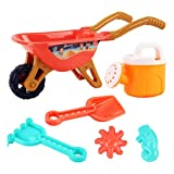 TOYANDONA 6Pcs Kids Wheelbarrow Gardening and Seaside Beach Play Set Children Beach Sand Playing Toys for Outdoor Activities with Accessories Including Bucket, Rake
