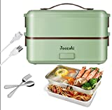 JOOZAKI Portable Electric Lunch Box Container 110v Bento Box Rice Cooker Egg Steamer Food Heater for Office/Home/School/2-Layer Container