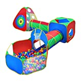 5pc Kids Ball Pit Tents and Tunnels, Toddler Jungle Gym Play Tent with Play Crawl Tunnel Toy, for Boys babies infants Children, Indoor Outdoor Gift, Target Game w/ 4 Dart Balls