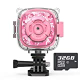 AKAMATE Kids Action Camera Waterproof Video Digital Children Cam 1080P HD Sports Camera Camcorder for Boys Girls, Build-in 4Games, 32GB SD Card (Pink)