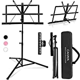 CAHAYA 2 in 1 Dual Use Extra Stable Reinforced Folding Sheet Music Stand & Desktop Book Stand Lightweight Portable Adjustable with Carrying Bag, Metal Music Sheet Stand with Music Sheet Clip Holder
