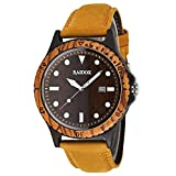 Wood Watches for Men, Mens Wood Watch Leather Band, Luminous Quartz Wrist Watch for Men Anniversary Birthday, Casual Large Face Wooden Watch with Exquisite Box