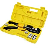 HYCLAT 10 Tons Hydraulic Wire Battery Cable Lug Terminal Crimper Crimping Tool With 9 Pairs of Dies