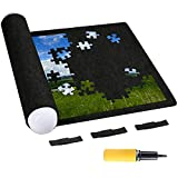 Bnesi Puzzle Mat Roll up,Fits up to 1500 Pieces,Puzzle Storage Puzzle Saver (Black)