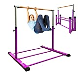 Sumery Foldable&Movable Gymnastic Kip Bar,Horizontal Bar for Kids Girls Junior,3' to 5' Adjustable Height,Home Gym Equipment,Ideal for Indoor and Home Training,1-4 Levels,300lbs WeightCapacity(Purple)