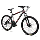 Hiland 26 Inch Mountain Bike Aluminum MTB Bicycle with 17 Inch Frame Kickstand Disc-Brake Suspension Fork Cycling Urban Commuter City Bicycle Black Red