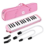 Vangoa 32 Key Melodica, Musical Instrument Air Piano Keyboard, Melodicas with Carrying Bag, Double Mouthpieces, Wipe Cloth, Key Stickers, Long Tubes (Pink)