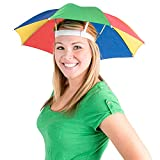 Umbrella Hat Pack of 2 - Colorful Party Hats - 20 Inch, Hands Free, Funny Rainbow Colorful Beach Party Hats, Adjustable Size Fits All Ages, Kids, Men & Women