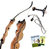 KESHES Takedown Hunting Recurve Bow and Arrow - 62 Archery Bow for Teens and Adults, 15-60lb Draw Weight - Right and Left Handed, Archery Set, Bowstring Arrow Rest Stringer Tool Sight (50 LB, Right)