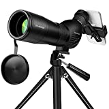 Spotting Scope, Huicocy 20-60x60mm Zoom 39-19m/1000m with FMC Lens, BAK4 45 Degree Angled Eyepiece, Fogproof Spotting Scope with Tripod, Phone Adapter, Carry Bag for Target Shooting,Hunting,Birding