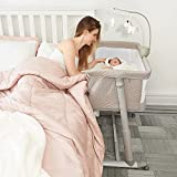 Cloud Baby Bassinet with Music Box and Built-in Wheels for Baby Infant Newborn Girl Boy, Bedside Sleeper for Safe Cosleeping