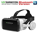 VR SHINECON Headset +Bluetooth 3D Glasses Goggles HD Virtual Reality Headset Compatible with iOS & Android Phone Eye Protected Soft & Comfortable Adjustable Distance for Phones 4.7-6.7'[2021 Newest]