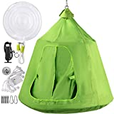 Happybuy Hanging Tree Tent, Max.440lbs Capacity Tree Tent Swing, Hangout Hugglepod with LED Rainbow Decoration Light Inflatable Cushion, Ceiling Hammock Tent Suit for Kids & Adult Outdoor (Green)
