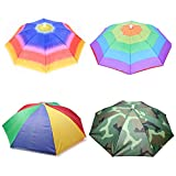 Umbrella hat 4 Pack for Kids Adults Outdoor 20' Multicolor Head Umbrella Cap Rainbow Fishing Hats and Folding Waterproof Hands Free Party Beach Headwear