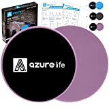 A AZURELIFE Exercise Core Sliders, Dual Sided Exercise Gliding Discs Use on Carpet or Hardwood Floors, Light and Portable, Perfect for Abdominal&Core Workouts