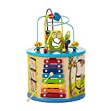 Activity Cube For Toddlers 1-3 | Educational Toys 8-in-1 Learning Center for Boys & Girls | Xylophone - Spin Gear - Flip Board - Shape Sorter - Abacus -Tic Tac Toe - 2 Fun Mazes(BIGGER SHAPES VERSION)