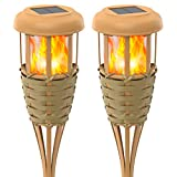 Evelynsun Flickering Flames Solar Powered Lights - Upgraded Solar Torches Waterproof Outdoor Decorative Lighting Auto On/Off, Handmade Bamboo Finish, 2-Pack