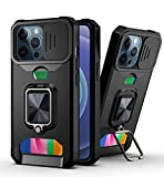 for iPhone 13 Pro Case with Slide Camera Cover Wallet Credit Cards Slot Kickstand Men Women Shockproof Impact-Resistant Cover, Slide Lens Protection + 360° Rotate Ring Stand Armor Protective Black