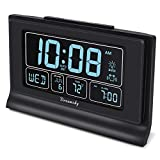 DreamSky Auto Set Digital Alarm Clock Backup Battery, 6.6 Inch Large Screen with Time/Date/Temperature Display, Full Range Brightness Dimmer, Auto DST Setting, USB Charging Ports, Snooze,12/24Hr