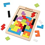 Coogam Wooden Blocks Puzzle Brain Teasers Toy Tangram Jigsaw Intelligence Colorful 3D Russian Blocks Game STEM Montessori Educational Gift for Kids (40 Pcs)